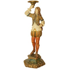 Italian Carved Wood and Gesso Early 20th Century Figural Torchere