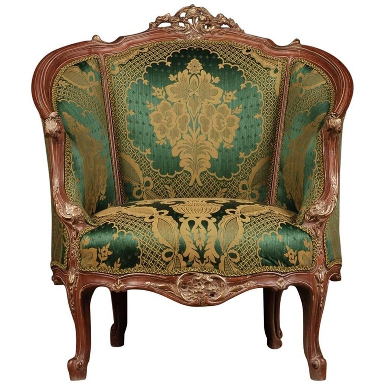 20th Century Louis Quinze Style French Curly-Leg Bergère For Sale