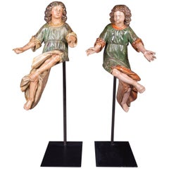 18th Century Baroque Oak Pair of Couple Baroque Figures