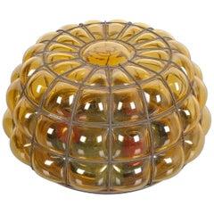 Glashütte Limburg Yellow Bubble Glass Flush Mount Ceiling Lamp, Germany, 1960