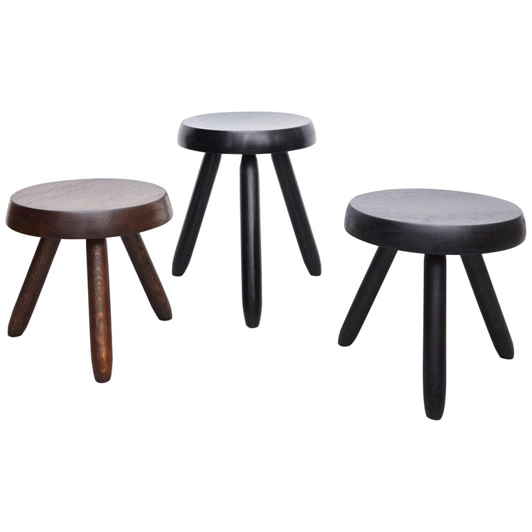 Set Of Three Stools In The Style Of Charlotte Perriand At