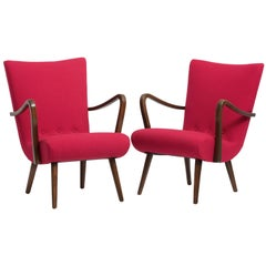 Pair of Danish Produced Armchairs, New Wool Upholstery by Kvadrat, 1940s