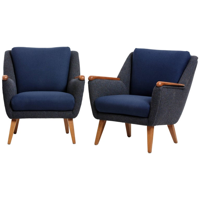 Pair of German Produced Lounge Chairs, New Wool Upholstery by Kvadrat, 1940s