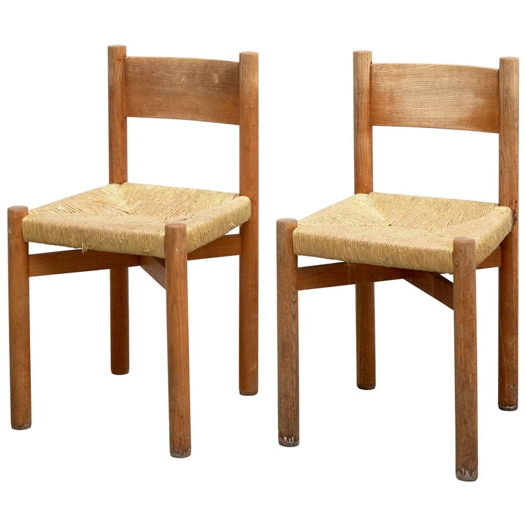 Pair of Charlotte Perriand Chairs for Meribel, circa 1950