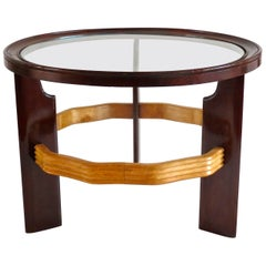 Important Mahogany and Peachwood Osvaldo Borsani Round Coffee Table, 1935