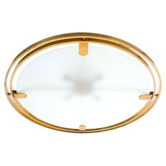 Art Deco Brass Satin Glass Graphical Ceiling Lamp Flush Mount UFO, circa 1920