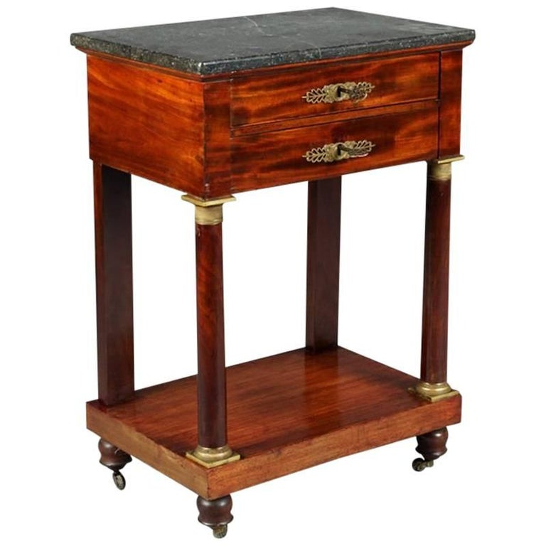 19th Century Empire Commode, Nightstand or Sewing Table For Sale
