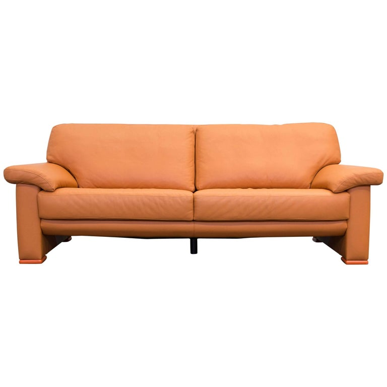 willi schillig designer sofa orange leather three seat german design at 1stdibs. Black Bedroom Furniture Sets. Home Design Ideas