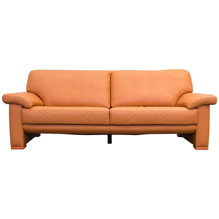 willi schillig designer sofa orange leather three seater. Black Bedroom Furniture Sets. Home Design Ideas