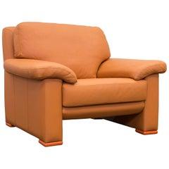 Willi Schillig Designer Chair Orange Leather Three-Seat German Design