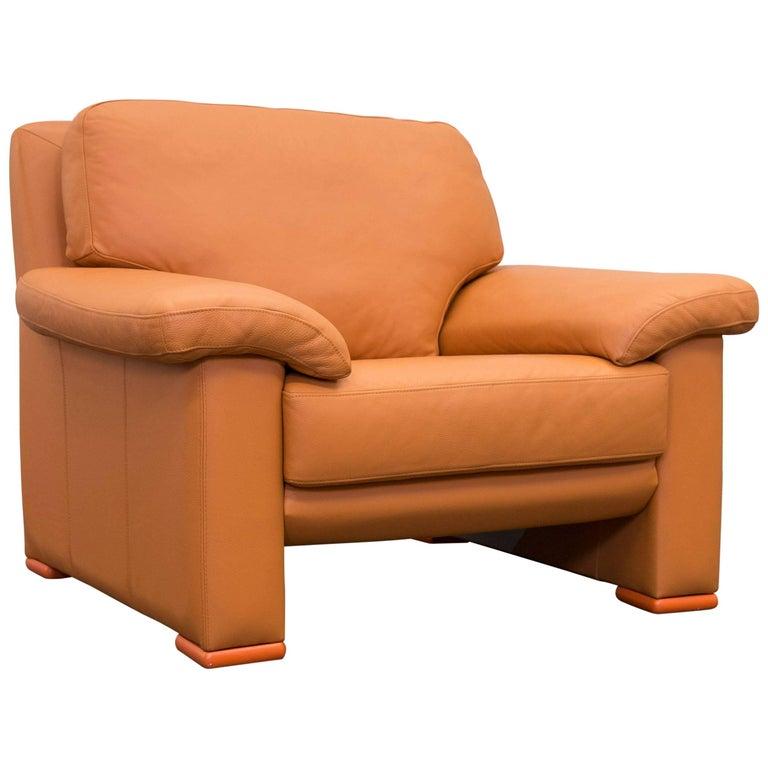 Willi Schillig Designer Chair Orange Leather Three Seat