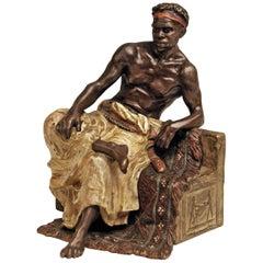 Vienna Bergman Bronze Black Man on Egyptian Bench Made, circa 1900