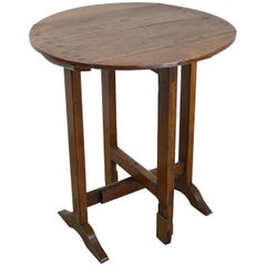 Small Antique Pine Tilt Top Wine Table