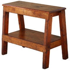 Wooden Bench/Side or End Table Factory Shop Two-Tier Industrial