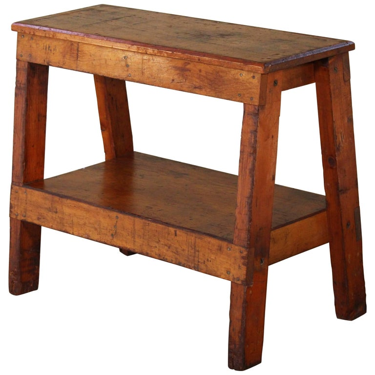 Wooden Bench/Side or End Table Factory Shop Two-Tier Industrial For Sale