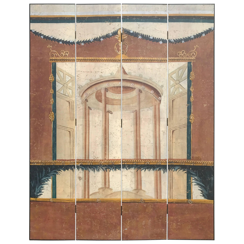 Italian Neoclassical Painted Screen with Pompeiian Fresco