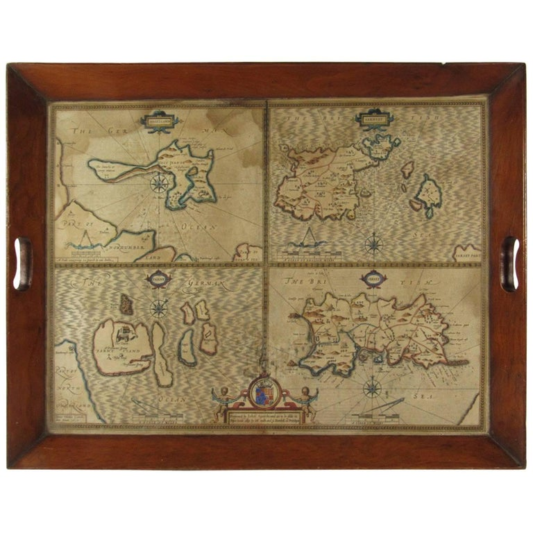 19th Century Mahogany Tray with a 17th Century Map of the Holy Islands