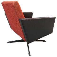 Italian Rotating Armchair Original Faux Leather Black Red Design 1950 Period