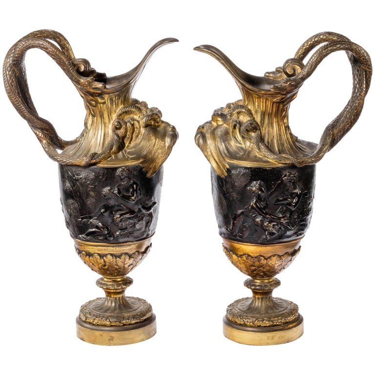 Pair of Late 18th Century, Bronze and Gilt Bronze Ewers in the Manner of Clodion