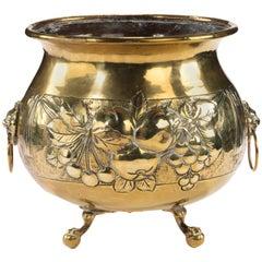 Mid-19th Century Dutch Brass Jardinière with Repoussé Decoration