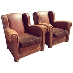 Stunning French Leather Pair of Club Chairs