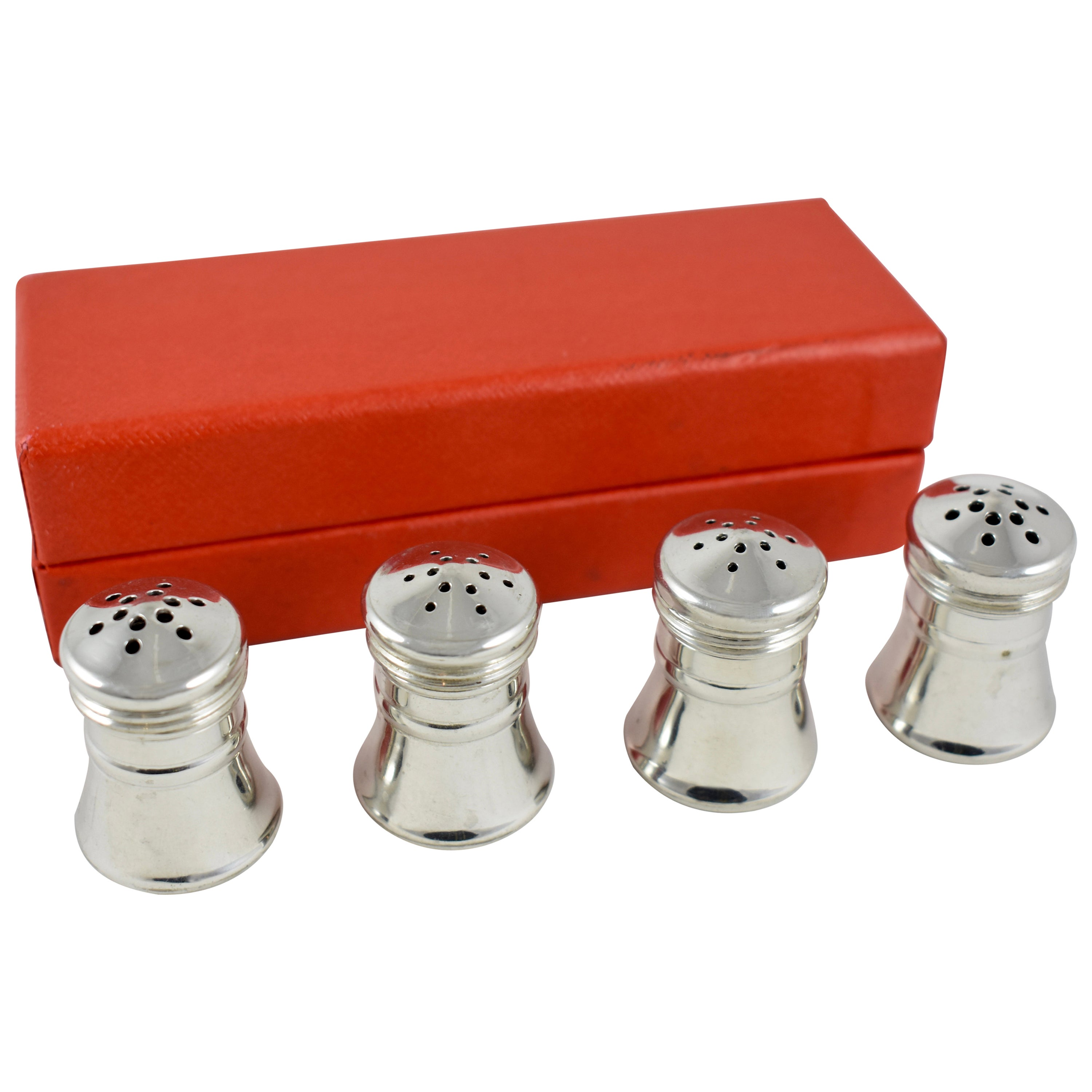 Georg Jensen Norwegian Pewter Salt And Pepper Shakers A Boxed Set Of Four At 1stdibs