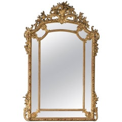 Large Antique French Gold Leaf Pareclose Mirror, circa 1890