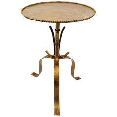 Spanish Mid-20th Century Hand-Hammered Gilt Iron Gueridon Table