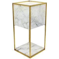 Mid-Century Modern Alabaster and Brass Cube Table Lamp, Spain, 1970s
