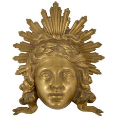 Late 18th Century French Ormolu Louis XVI Fragment Wall Plaque, the Sun King