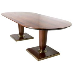High-Quality Black Walnut Conference Table, Italy, 1980s