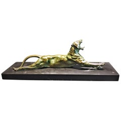 Anna Hyatt Huntington, Yawning Panther, Bronze and Marble Sculpture, circa 1915