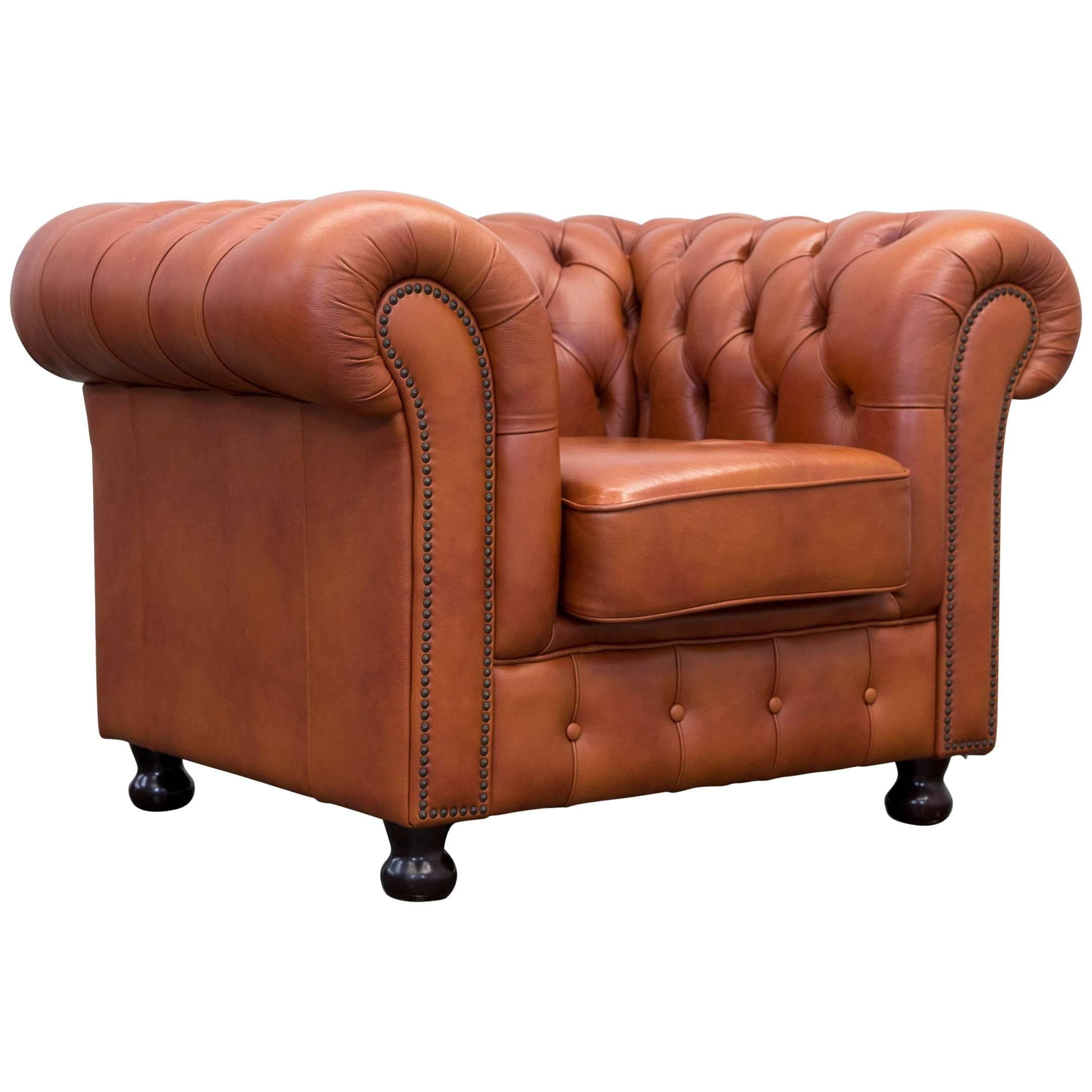 Original Chesterfield Armchair Authentic Leather Terracotta 1