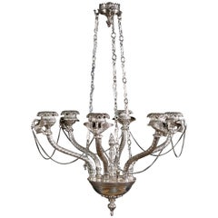 20th Century, Empire Style Silvered Ceiling Candelabra