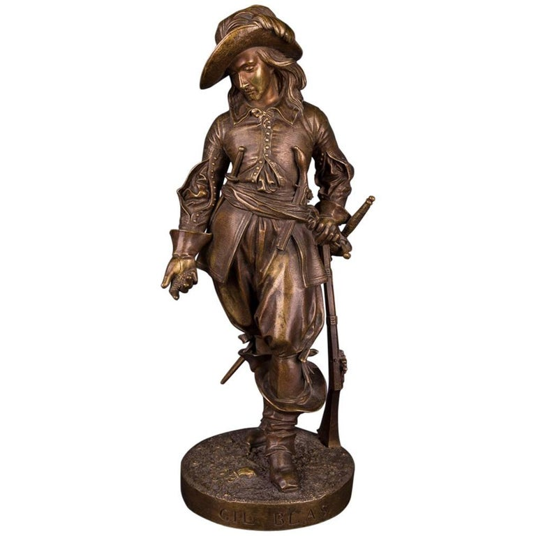 19th Century, Bronze Sculpture Gil Blas Signed by Leveque