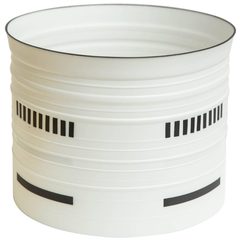 Stepped Porcelain Cylinder in Black and White by Bodil Manz, 2017 For Sale