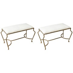 Pair of Gilt Iron Benches