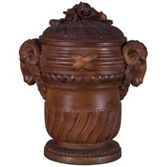 Enormous Antique French Neoclassical Terracotta Vessel and Lid, circa 1885