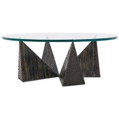 Paul Evans, Polychromed Sculpted Steel Coffee Table for Directional, USA, 1970s