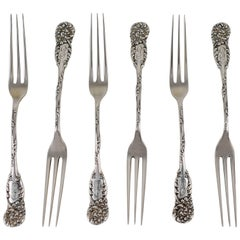19th Century Reed & Barton Sterling Silver La Reine Pattern Berry Forks Set/Six