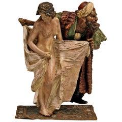 Vienna Bergman(N) Bronze Slave Trader Female Nude with Arab Man Made, circa 1890
