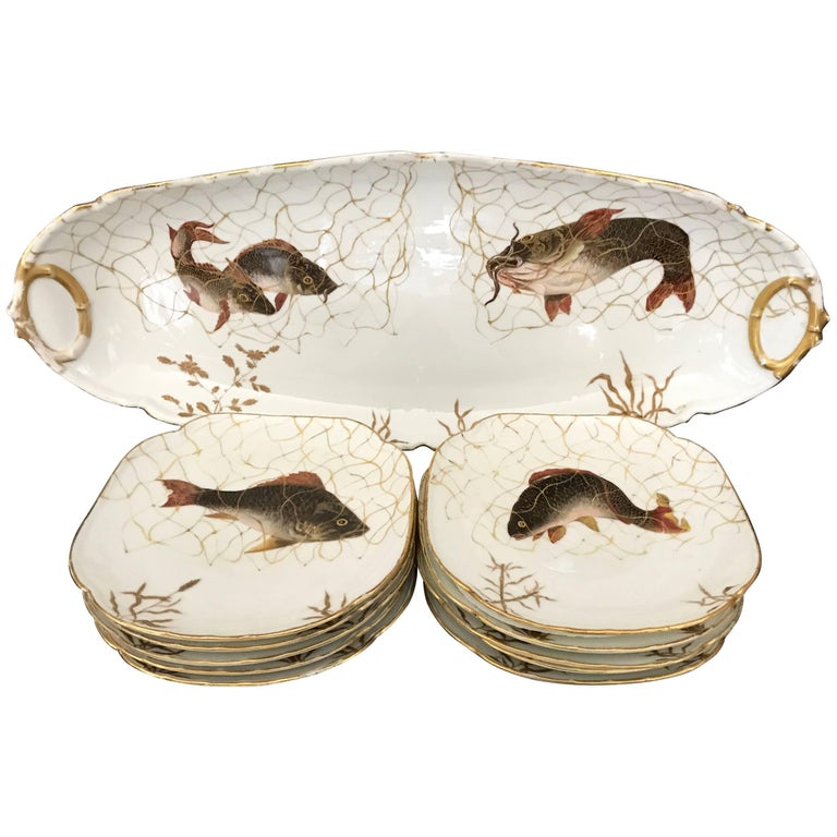 Set of Ten French Aesthetic Movement Fish Plates and Platter