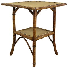 Antique Square Bamboo Side Table