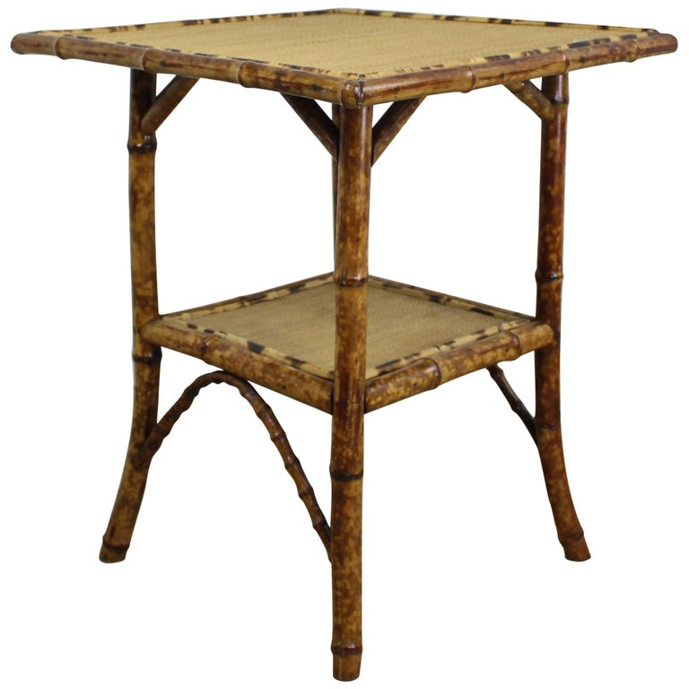 Antique Square Bamboo Side Table At 1stdibs