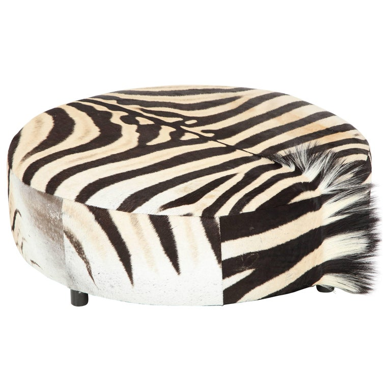 Zebra Hide Ottoman, Offered by Area ID For Sale