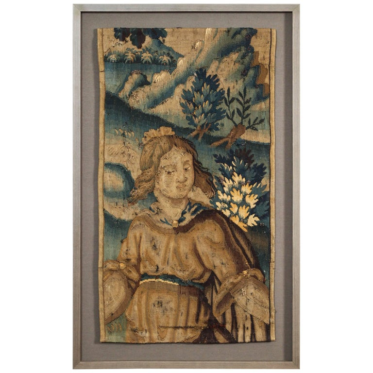 Antique Brussels Flemish Tapestry Panel For Sale
