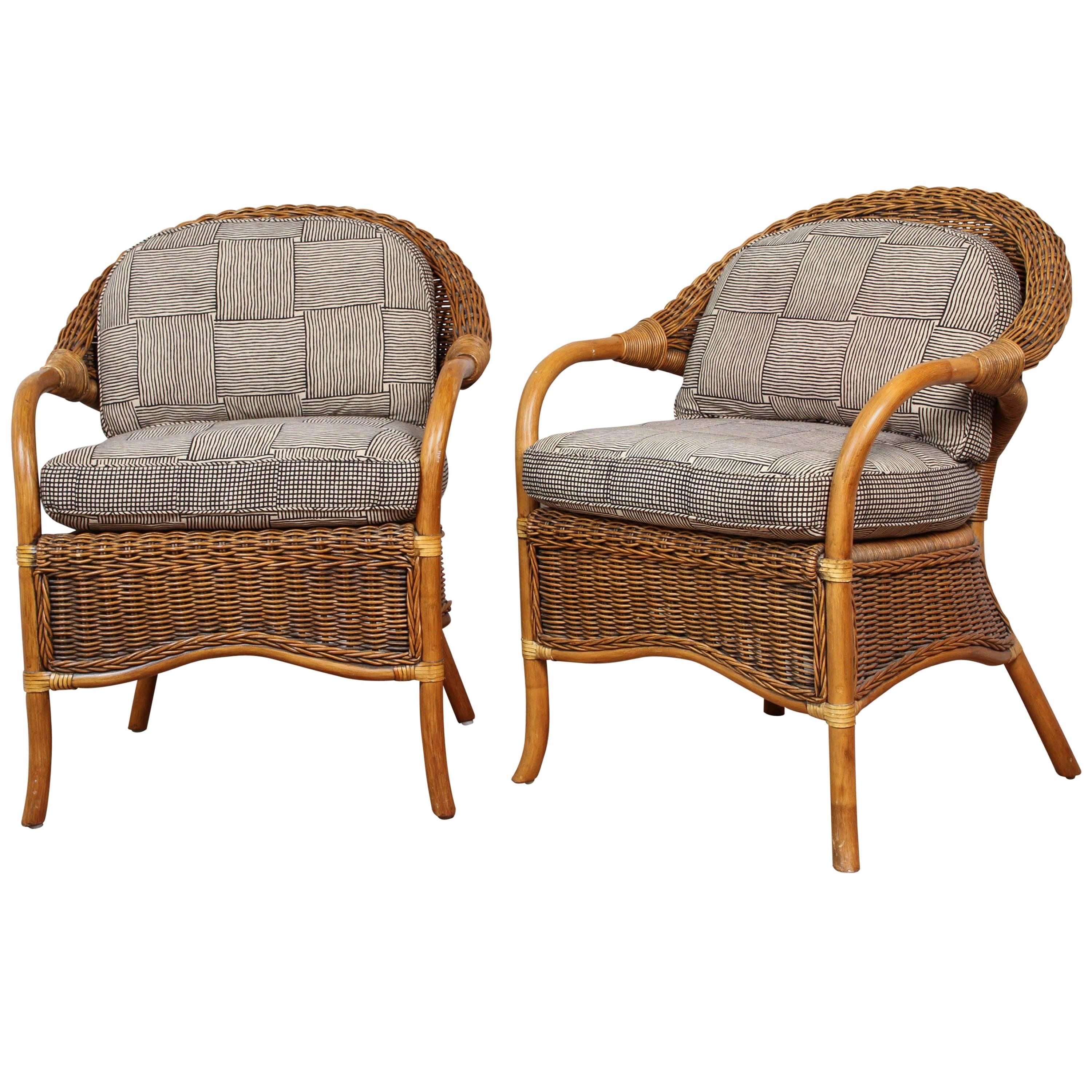 Rattan Chairs Upholstered In Indian Block Print Cotton For Sale At