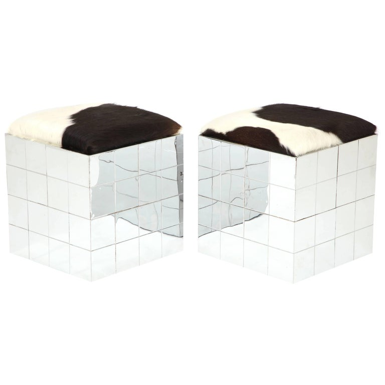 Pair of Cowhide Ottomans in the Style of Paul Evans 1