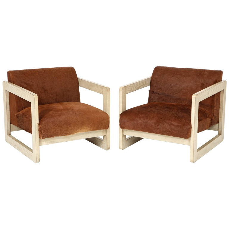 Pair Of Cowhide Upholstered Club Chairs For Sale At 1stdibs
