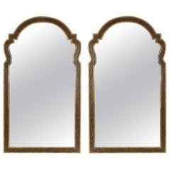 Large Pair of Queen Anne Style Black and Gilt Mirrors